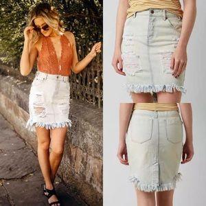Lira Distressed And Frayed Denim Skirt
